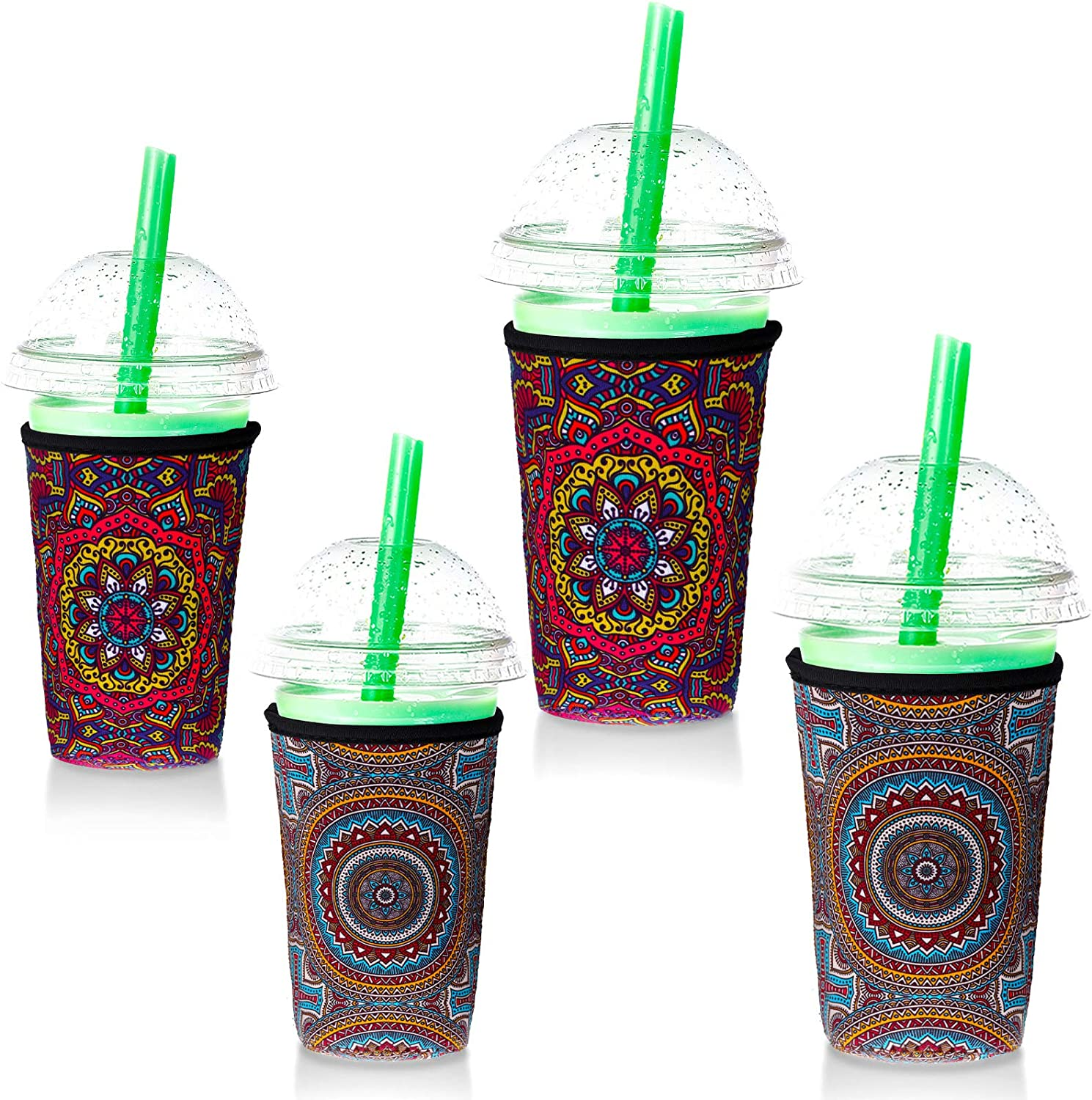 4 Pieces Reusable Ice Coffee Sleeve Insulated Drinks Sleeve Neoprene Cup Cover for 24 oz 32 oz Cold Hot Drinks Beverages Cup Bottle (Colorful Flower)