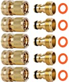 ShowNew Garden Hose Quick Connectors, Solid Brass 3/4 inch GHT Thread Easy Connect Fittings No-Leak Water Hose Male…