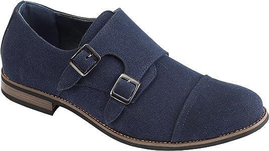 TALLA 41 EU. Gamuza Sintética De Cuero Monk Zapatos De Los Hombres De La Correa De Doble Inteligentes Retro Clásico del Resbalón Casual En El