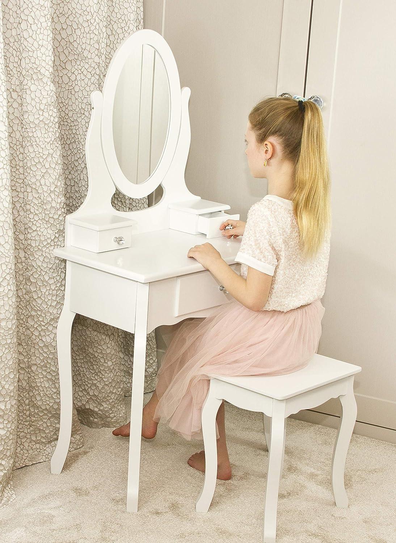 3-7 Anni Tabella di Preparazione per Trucco in Legno Bianco per Bambini. Runesol Mobile per Il Trucco per Ragazze con Sgabello e Specchio Tavolo da Trucco per Bambini Piccoli Ideale per Ragazze