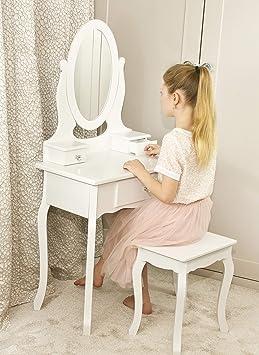 Runesol Coiffeuse Pour Filles Avec Tabouret Et Miroir