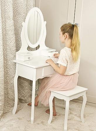 KindertischIdeal Mädchen Jahre 8 SpiegeltischFrisierkommode 13 Spiegelamp; Hocker Weiß KinderKleiner Für Runesol Mit Schminktisch w0nkOP