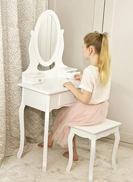 pretty nice 505d6 4bc94 Girls Dressing Table With Stool and Mirror | Children's Vanity Table Ideal  for Girls 8-13 Years | Children's White Wooden Makeup Dressing Table With 3  ...
