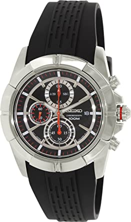 Seiko Chronograph Black Dial Black Rubber Mens Watch SNDE67 by Seiko Watches
