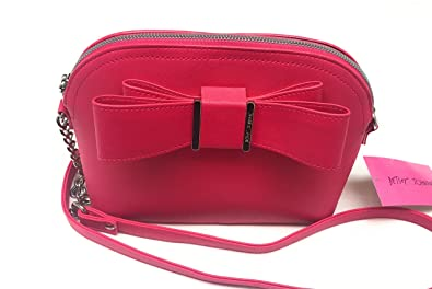 0043bcd00593 Amazon.com: Betsey Johnson Dome Satchel Hot Pink with Bow Crossbody ...