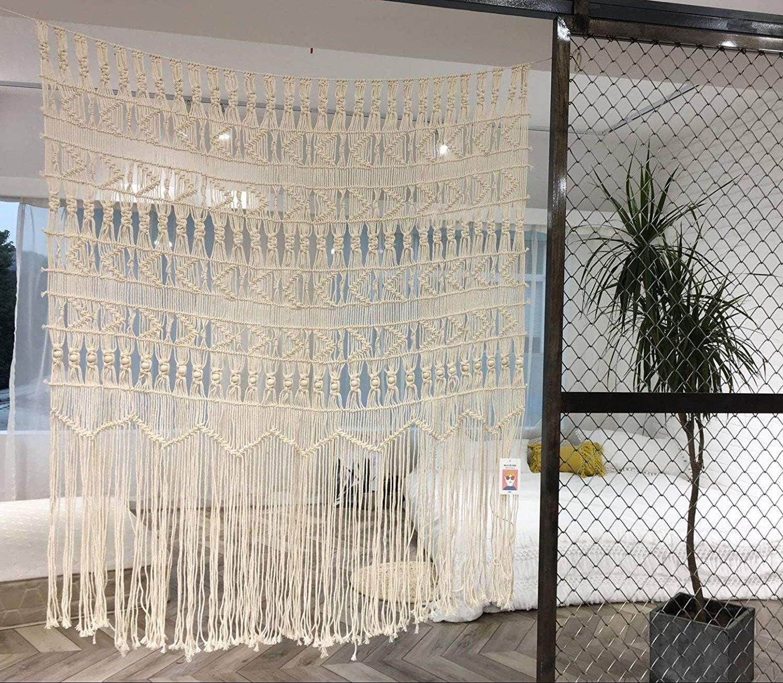 "Macrame Curtain Macrame Wall Hanging Macramé Handwoven Boho Wedding Backdrop Kitchen Curtains,52""Wx56""H (macrame curtain1)"