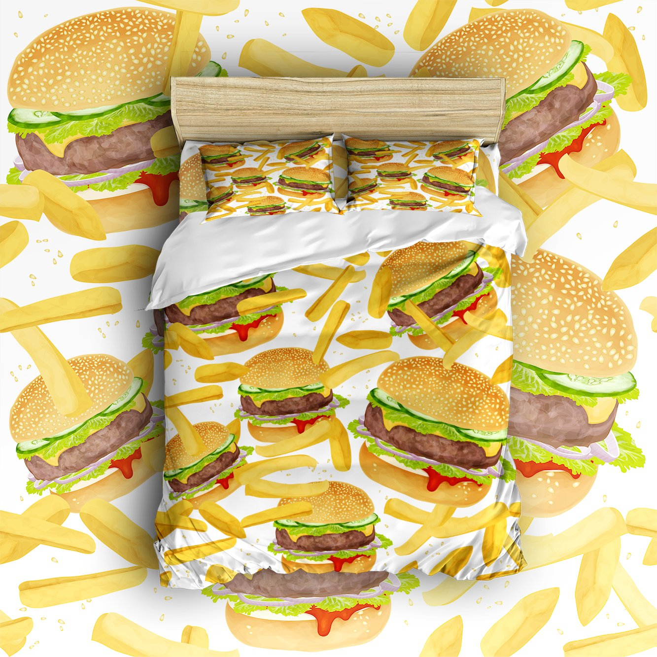 Beauty Decor Bedding 4 Piece bed Set Duvet Cover,Hamburgers and Fries theme 4 Piece Bed Sheet Set 1 Flat Sheet 1 Fitted Sheet and 19 Pillow Cases