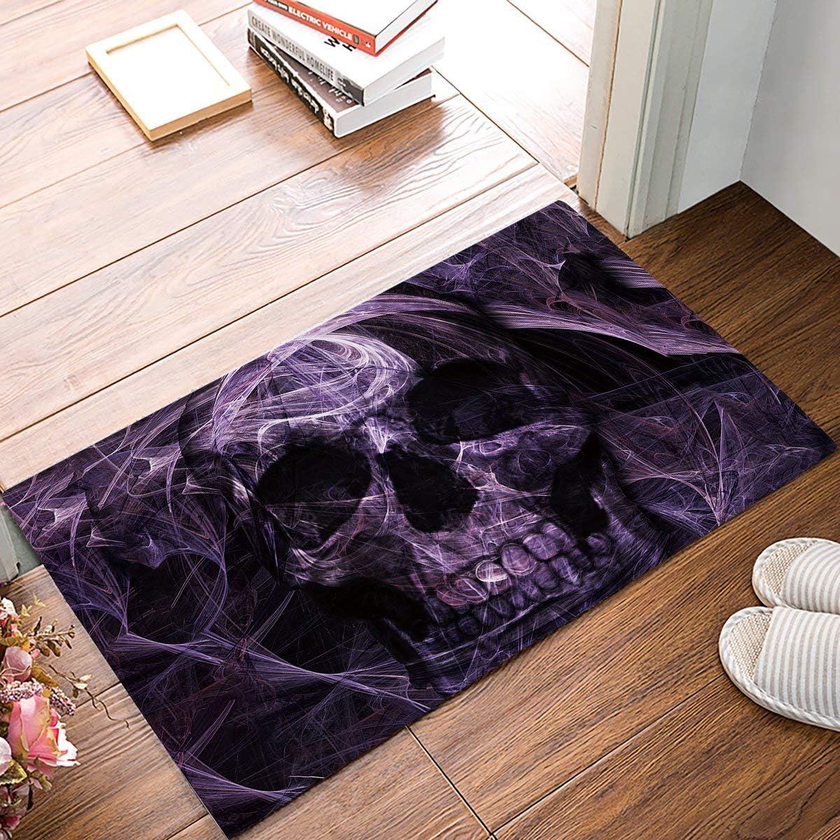 SIMIGREE 30 x 18 Inch Abstract Mystic Purple Skull Door Mats Kitchen Floor Bath Entrance Rug Mat Absorbent Indoor Bathroom Decor Doormats Rubber Non Slip