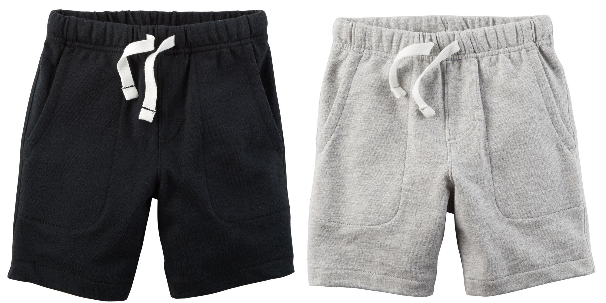 Carter's Set of 2 Boy's Cotton Pull On Shorts Toddler Little and Big Boys (5T, Light Heather Grey and Black)