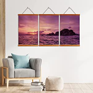 Pelican Island at Sunset 3 Panel Wall Art Bamboo Scroll for Decor | Bamboo Blinds Printing, Wooden Framed | Natural Eco-frendly Artwork Home Decoration