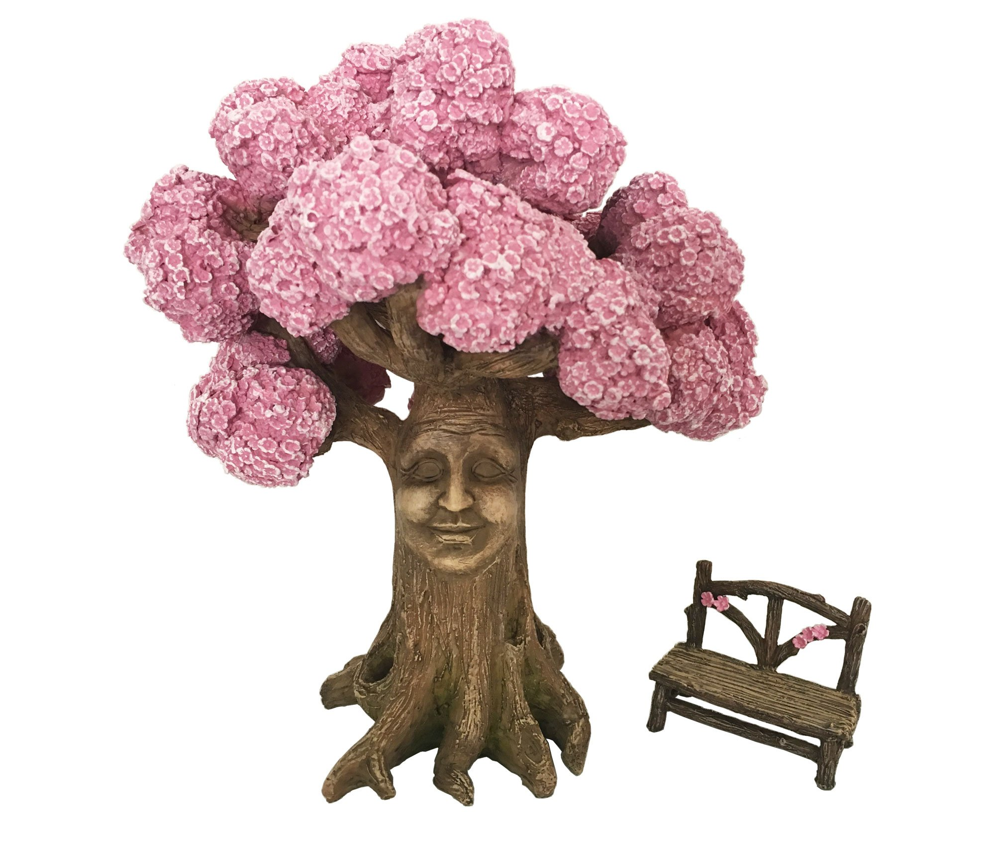 GlitZGlam Ethan's Magical Tree with a Matching Fairy Bench for The Enchanted Fairy Garden (9 Inch Tall) - A Fairy Garden Accessory