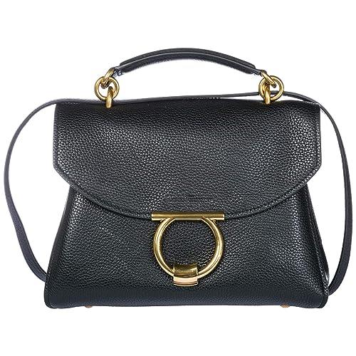 0f20eb9824 Salvatore Ferragamo borsa a mano Margot donna black: Amazon.it: Scarpe e  borse