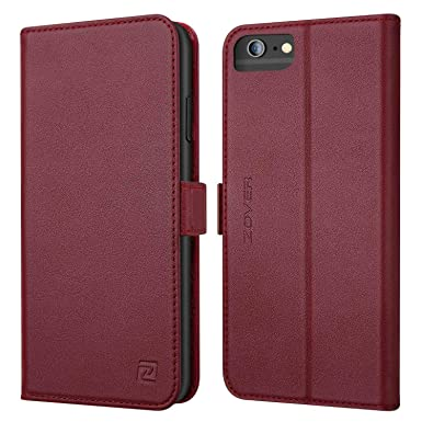 sale retailer fb921 05e4e ZOVER iPhone 6 Plus Leather Wallet Case, iPhone 6s Plus Flip Folio Case  with Card Holders Magnetic Closure and Kickstand Function - Wine Red
