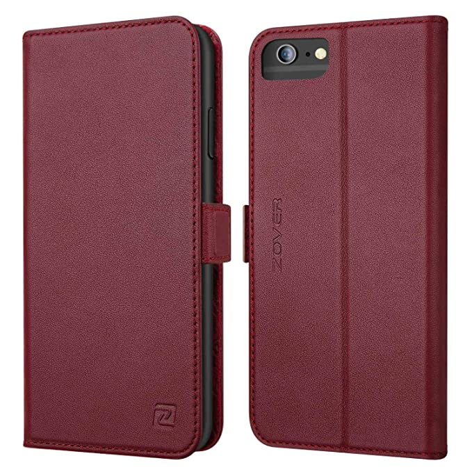 big sale 57375 69764 Zover iPhone 6S Plus Case iPhone 6 Plus case Genuine Leather Case Wallet  Cover with Kickstand Feature Card Slots & ID Holder and Magnetic Clasps for  ...