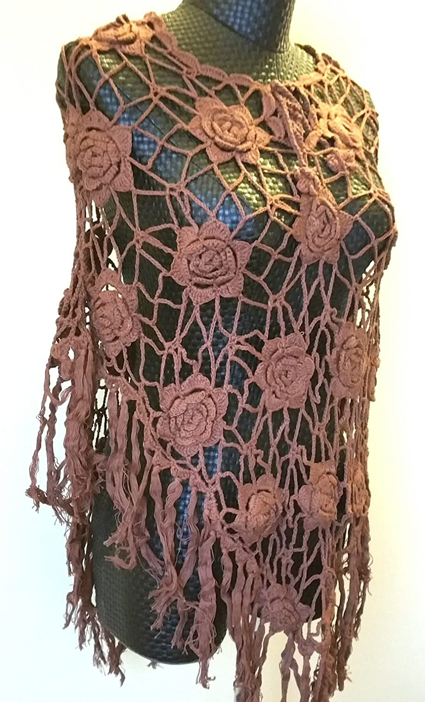 Vintage Loose Knit Crochet Fringe Poncho Swim Cover Pool Drape Top brown