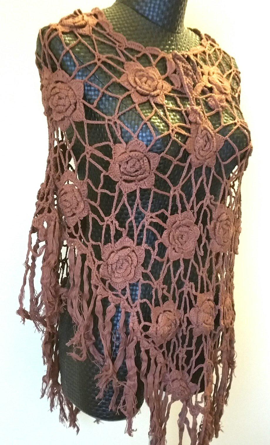 Vintage Loose Knit Crochet Fringe Poncho Swim Cover Pool Drape Top brown by Crochet Poncho (Image #1)