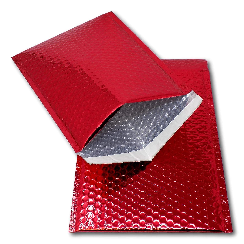 Eposgear® 10rosso A4/C4324mm x 230mm fogli metallizzato lucido Bubble borsa imbottita per spedizioni buste