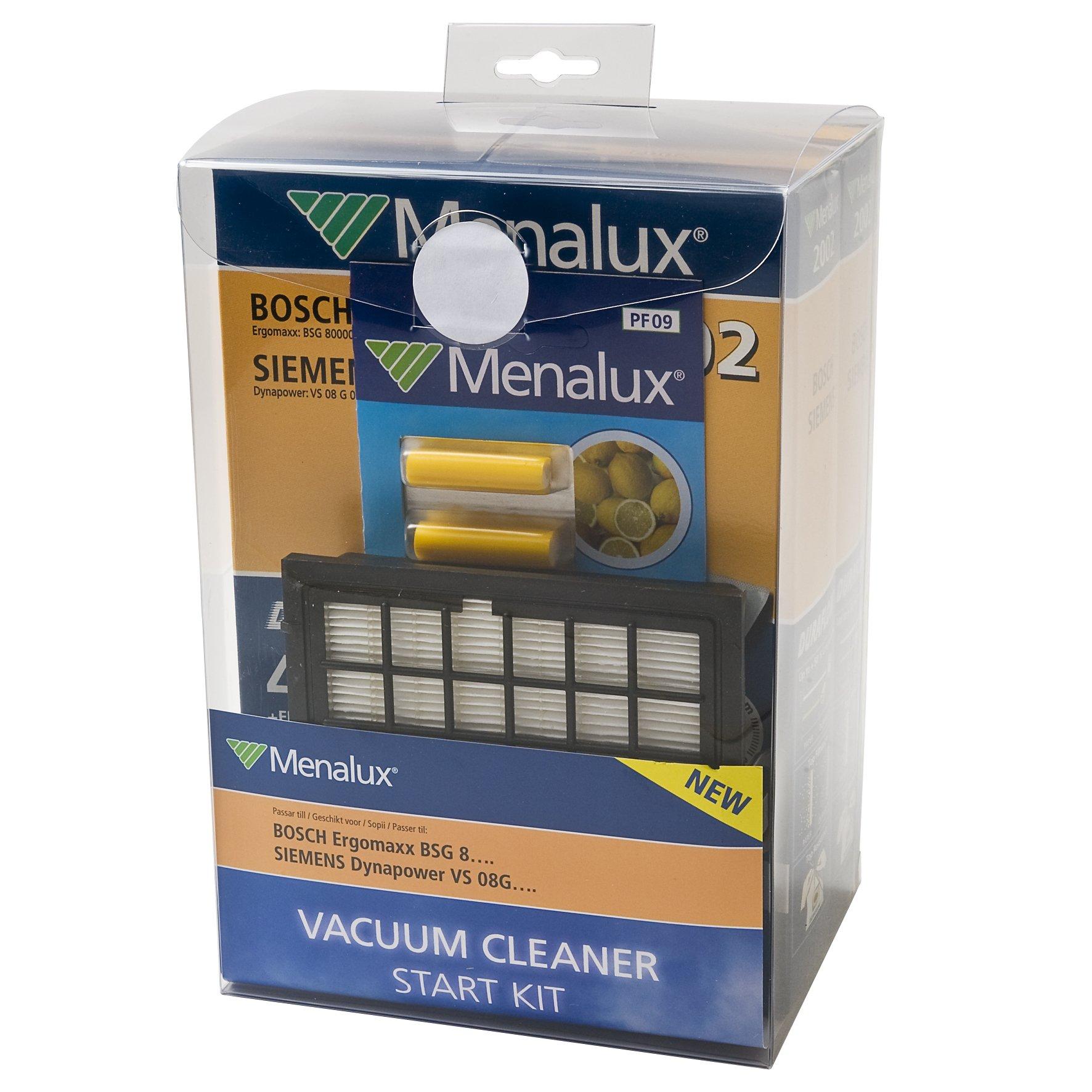 Menalux MSK 1 Economy Pack / 8 Vacuum Cleaner Bags Duraflow / 1 Hepa 12 Filter/Fragrance Sticks PF09 Lemon/Bosch BSG 8 / Siemens VS08G