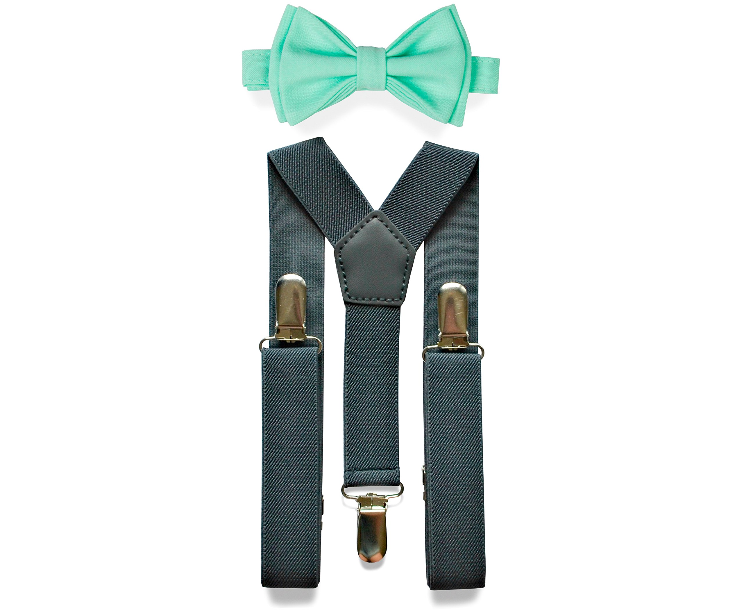 Charcoal Grey Suspenders & Bow Tie Set for Baby Toddler Boy Teen Men (2. Toddler (18 mo - 6 yrs), Charcoal Grey Suspenders, Mint Bow Tie)