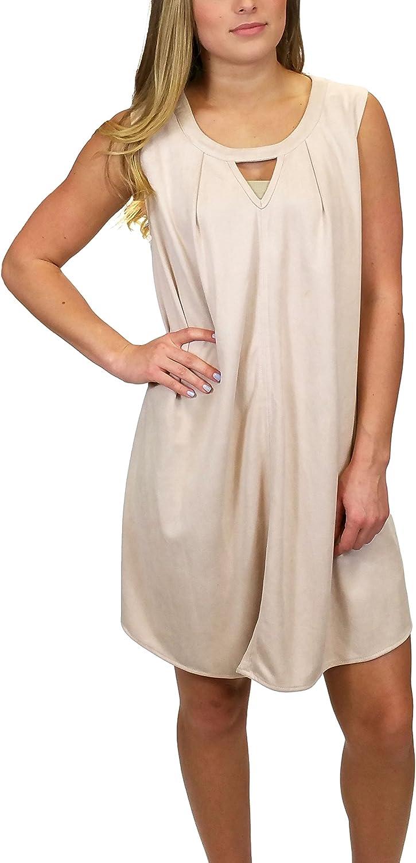 Miss Me MDD345T Dusty Pink Sleeveless Suede Dress