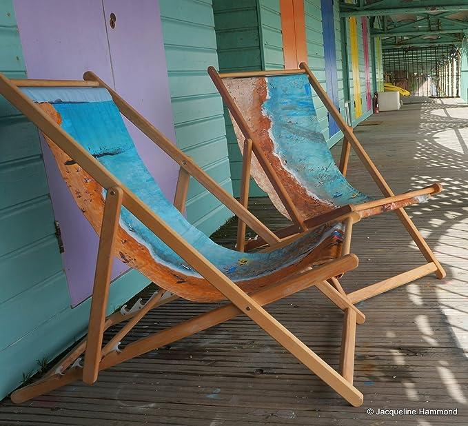 Playa marejada - tabla silla al aire libre plegable de madera - muebles de jardín - diseño náutico de tumbona de tradicional: Amazon.es: Jardín