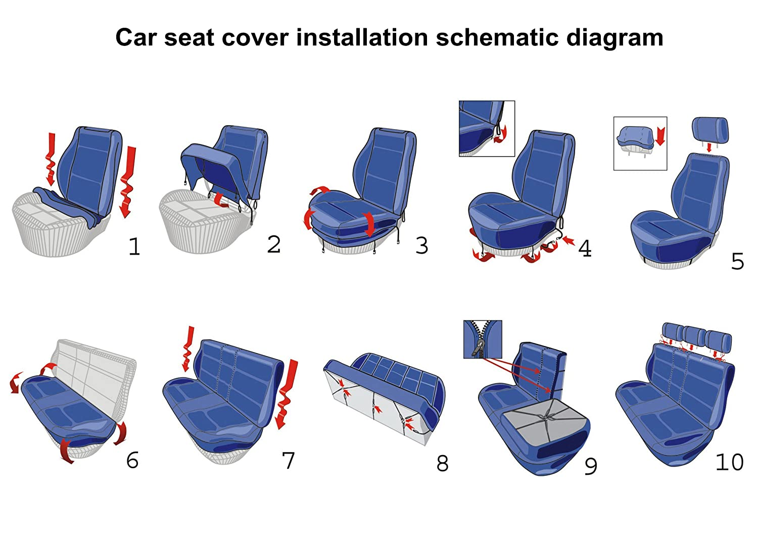 Autoyouth Classic Front Bucket Seat Covers For Car Truck Suv Airbag Schematic Fabric Diagram Polyester Two Tone Colors Accessories Universal Fit Protectors 4pcs