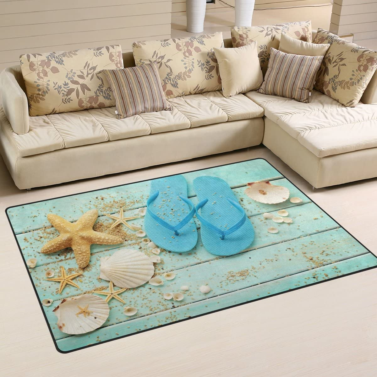 WOZO Beach Summer Shell Starfish on Wooden Area Rug Rugs Non-Slip Floor Mat Doormat