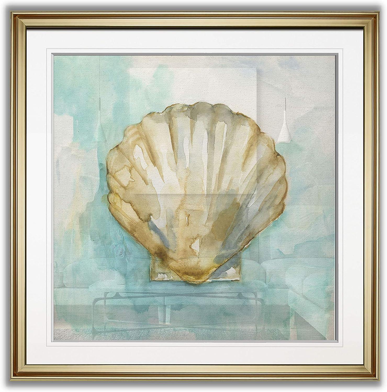 Renditions Gallery Biscayne Treasure III Nautilus Seashell Painting Nautical Art Framed Giclee Canvas Prints Coastal Wall Decor, 16 x 16, Gold