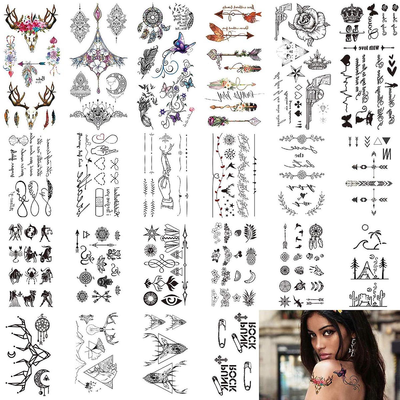 Temporary Tattoos Stickers, Small Temporary Tattoo 24 sheets Fake Tattoos Waterproof Body Sticker Mixed Style