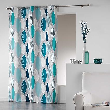 Tende Ad Occhielli.Coton D Interieur Tenda A Occhielli In Cotone Cotone Blu 280x140 Cm
