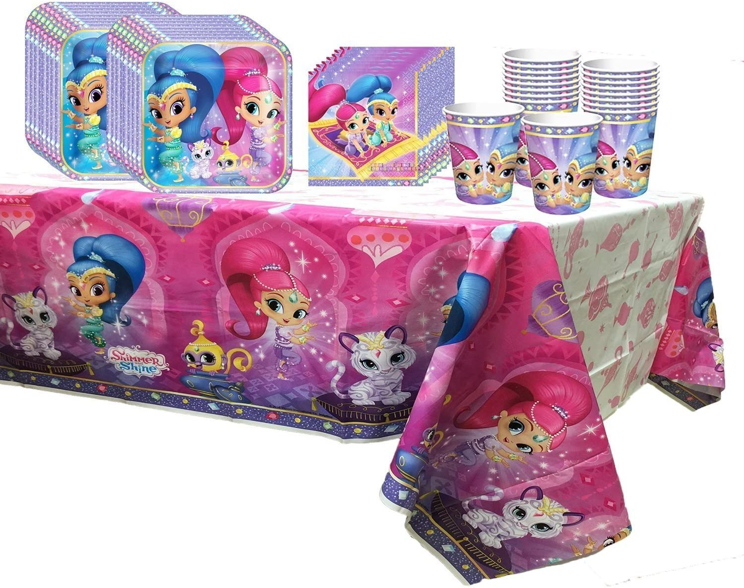 Party Pack for 16 Shimmer and Shine Birthday Party Supplies Plates, Napkins, Cups, Tablecover