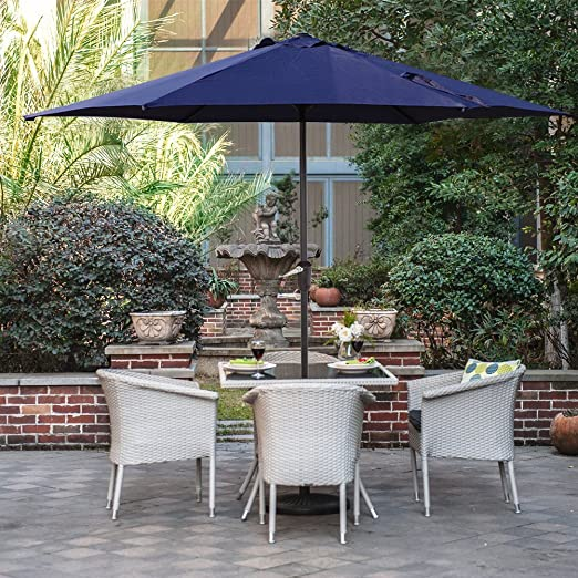 Grand patio Sombrilla Terraza Patio Jardín Piscina Ø 270 cm Impermeable Protección Solar Parasol de Aluminio con Manivela Ventilación Superior, Color Azul: Amazon.es: Jardín