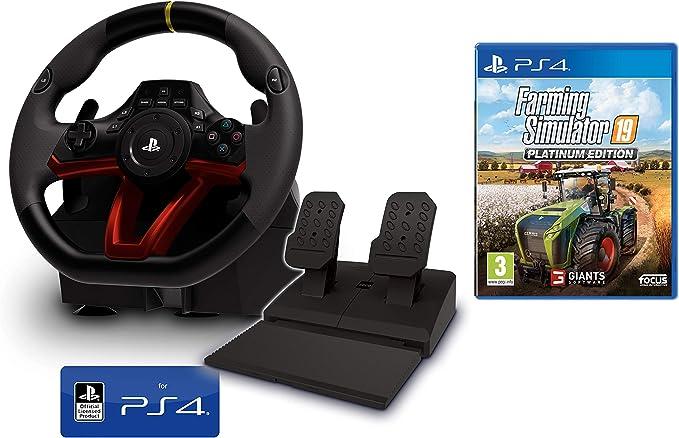 Volante y Pedales PS4 Inalámbrico [Nuevo Modelo] Licencia Oficial Sony Playstation 4 + Farming Simulator 19: Amazon.es: Videojuegos
