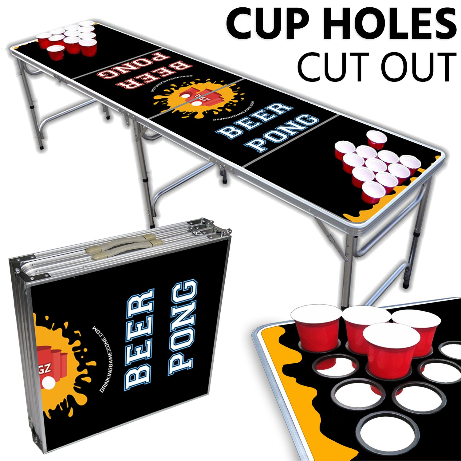 Beer Pong Table With Cup Holes – 8 Foot Easy Fold up w/ Adjustable Height – Professional Black + Yellow Design – Perfect for Tailgates, BP Parties, Flip Cup, & Pregames By Drinking Game Zone by Drinking Game Zone