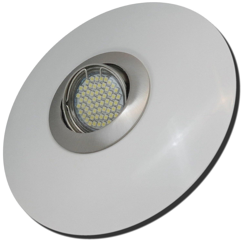 5 Stück SMD LED Einbaustrahler Big Fabian 230 Volt 5 Watt Schwenkbar Edelstahl geb. + Weiß Neutralweiß