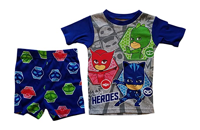AME PJ Masks Pajama Sleep Wear Set For Boys - Heroes and Villains,Blue/
