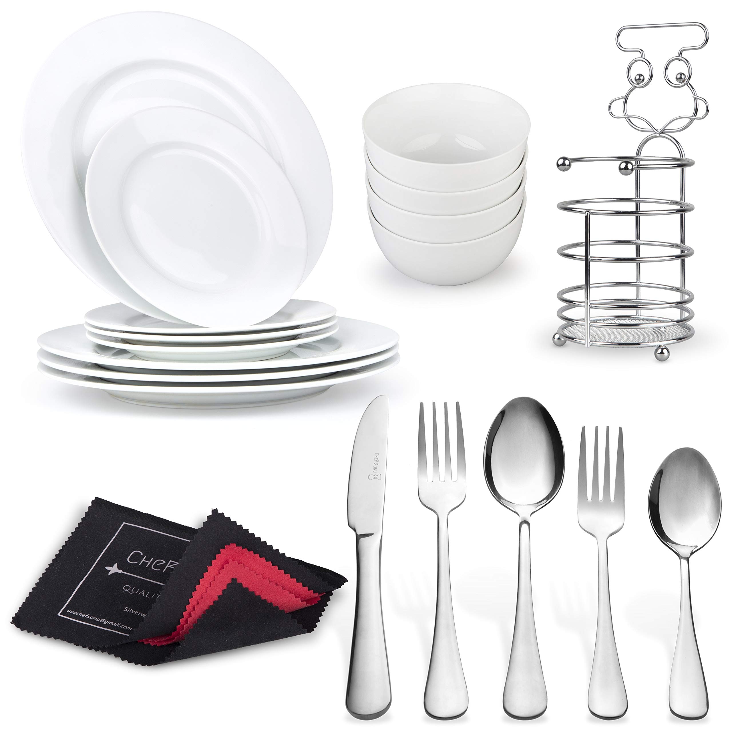 20PCS Silverware Set + 12PCS Dinnerware Set + Cutlery Holder + Flatware Polishing Cloth | Porcelain Plates Bowls | Stainless Steel Spoons Forks Knifes by CheF SONU - Quality Over Price