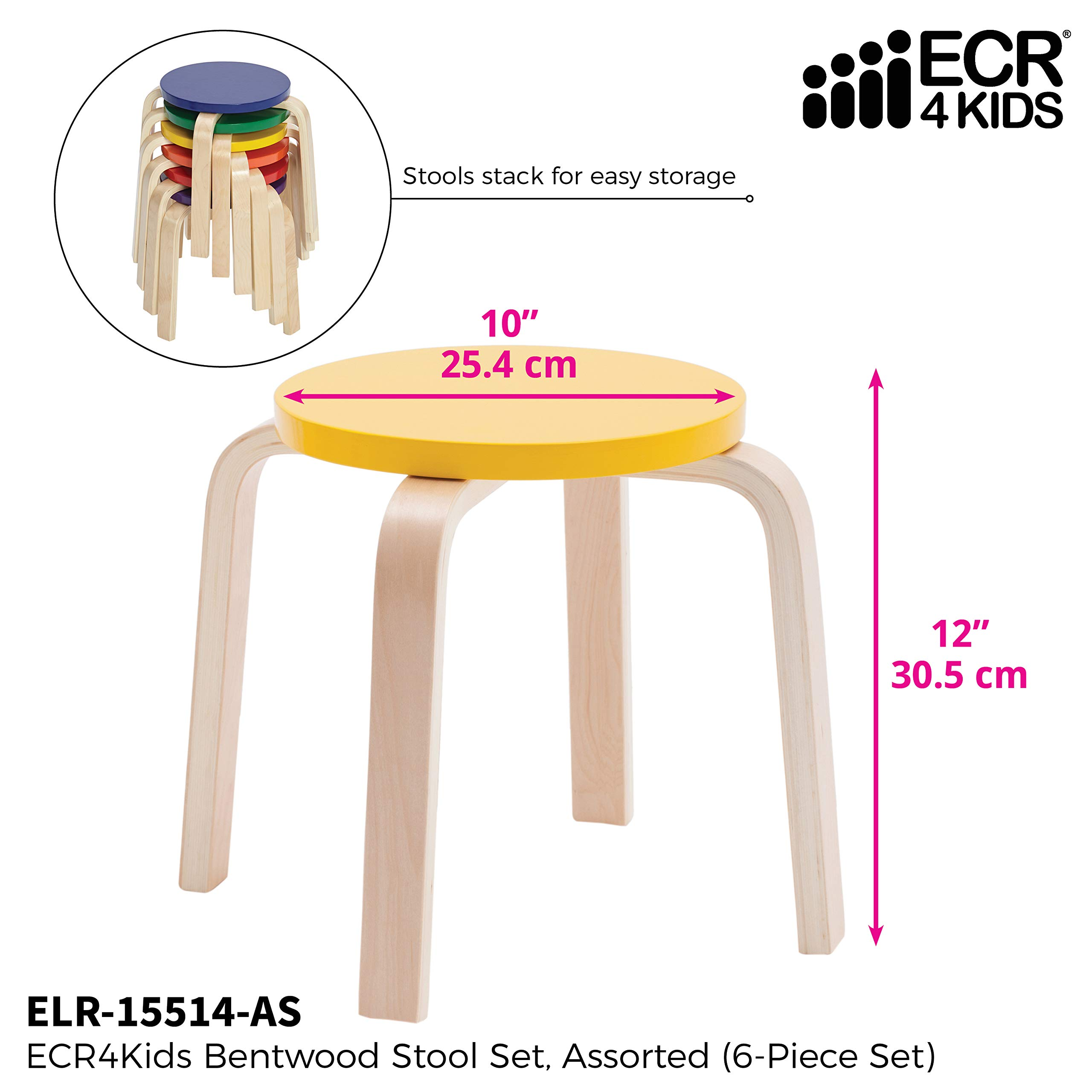 ECR4Kids Bentwood Stacking Stools for Kids, 12'' H, Assorted (6-Piece Set) by ECR4Kids (Image #3)