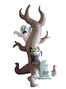 8 Foot Tall Halloween Inflatable Grave Scene with Ghost, Dead Tree Monster and Tombstone Party LED Lights Decor Outdoor Indoor Holiday Decorations, Blow up Lighted Yard Lawn Decor Home Family Outside