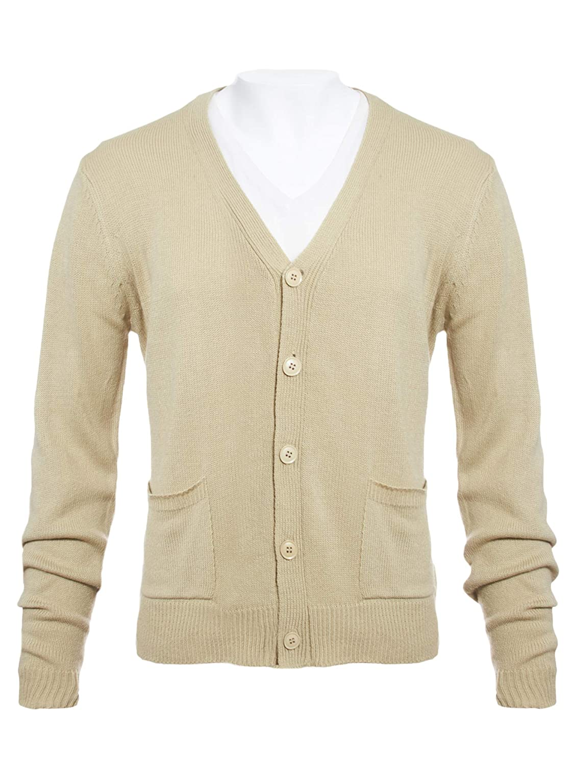 Knit Minded Mens Flat Knit Long Sleeve V-Neck Two Pocket Cardigan Sweater(See More Sizes)