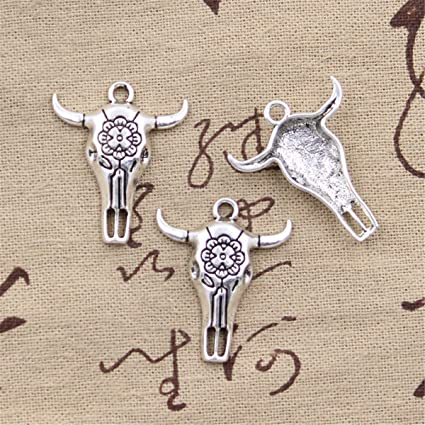 5Pcs Antique Silver Skull Bull Head Ox Horn Charms Pendants DIY Jewelry Findings