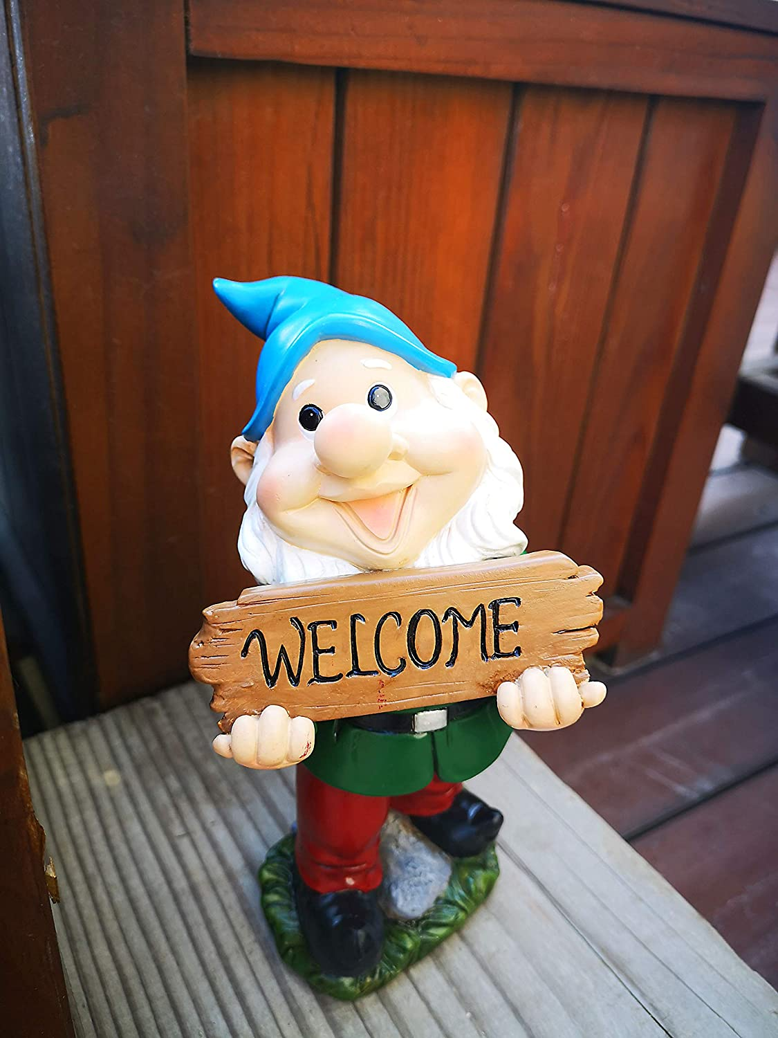 """Garden Gnomes Outdoor Resin Decoration for Lawn Patio 7.7"""" Tall Gnome Figurine Welcome Sign"""