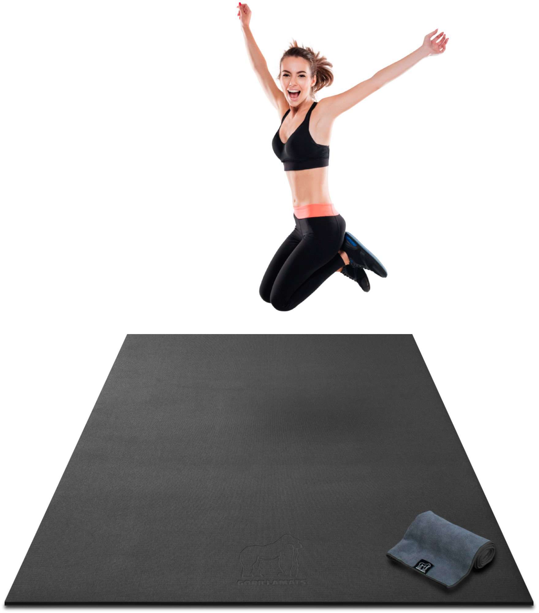Premium Extra Thick Large Exercise Mat - 7' x 4' x 8mm Ultra Durable, Non-Slip, Workout Mats for Home Gym Flooring - Cardio, Plyo, MMA, Jump Mat - Use with or Without Shoes (84'' Long x 48'' Wide)