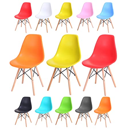DINING LOUNGE RETRO CHAIRS EIFFLE DSW STYLE PLASTIC SEAT W// WOODEN LEGS GARDEN