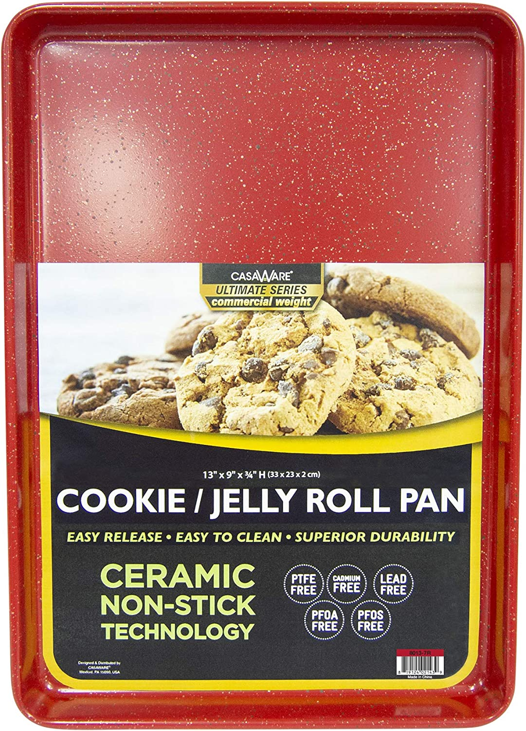 casaWare 13 x 9 x 1-Inch Ultimate Series Commercial Weight Ceramic Non-Stick Coating Cookie/Jelly Roll Pan (Red Granite)