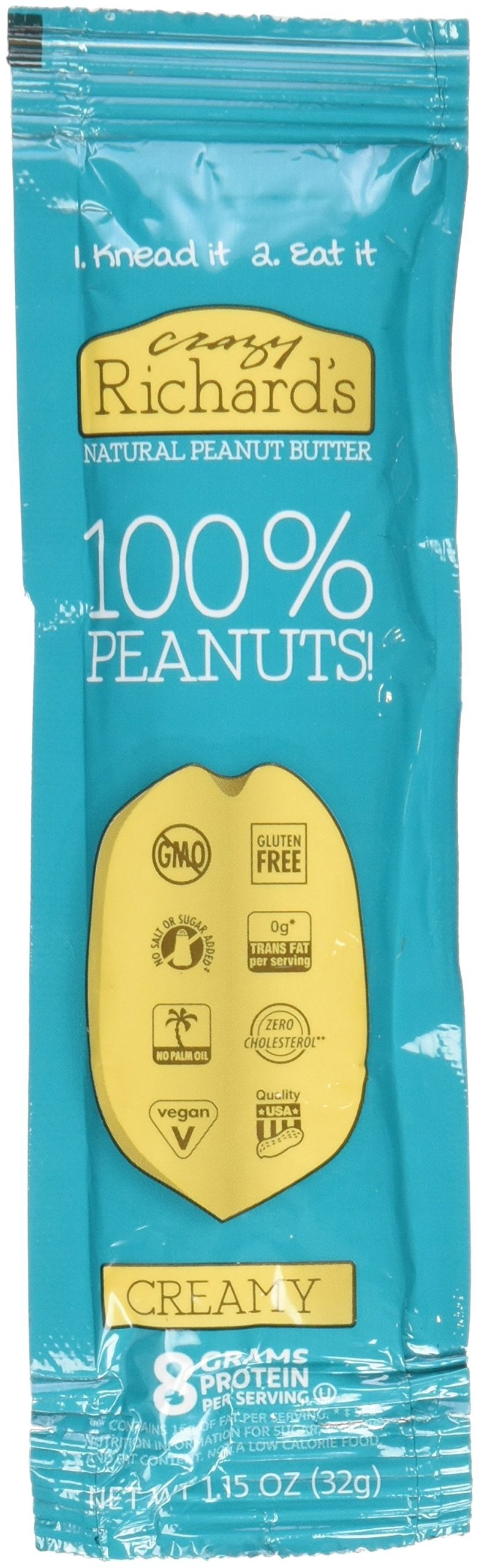 Crazy Richards 100% Natural Creamy, Squeeze Packs, 1.15 oz, 8 Count