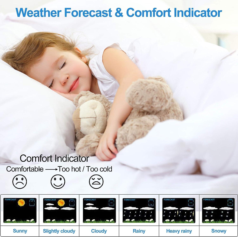 Kalawen Wetterstation mit Au/ßensensor Innen und Au/ßen Funkwetterstation Digitale Wetterstationen Farbdisplay DCF-Funkuhr Multifunktionale Weather Station mit Wettervorhersage Thermometer Hygrometer
