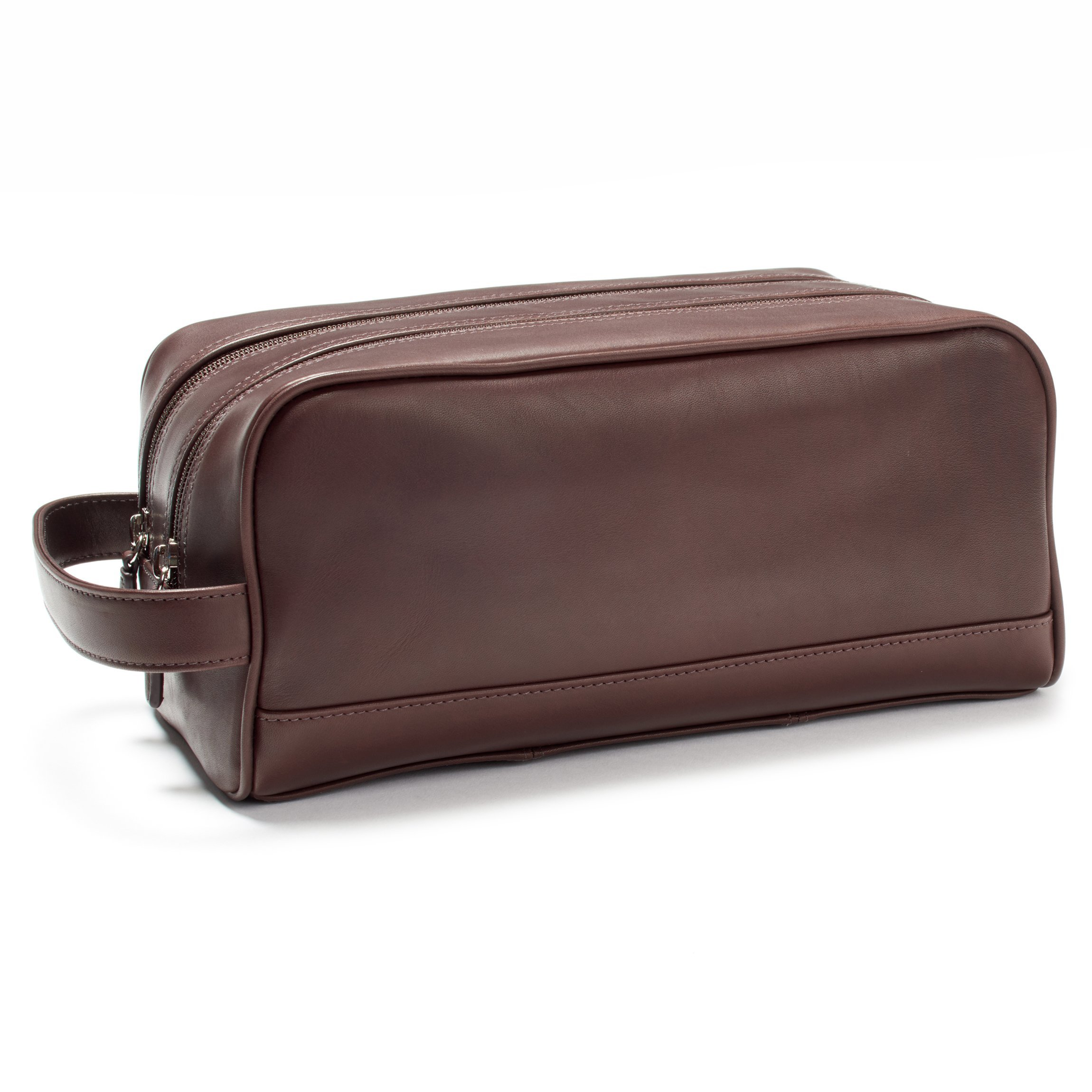 Leatherology Double Zip Toiletry Bag - Full Grain German Leather Leather - Mahogany (brown)