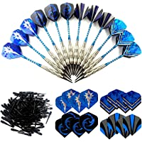 Sinwind 12 Dardos Punta Plastico para Diana Electrónica, Dardos Diana Electronica de Profesionales + 42 Plumas de 14 Patrones + 100 Puntas