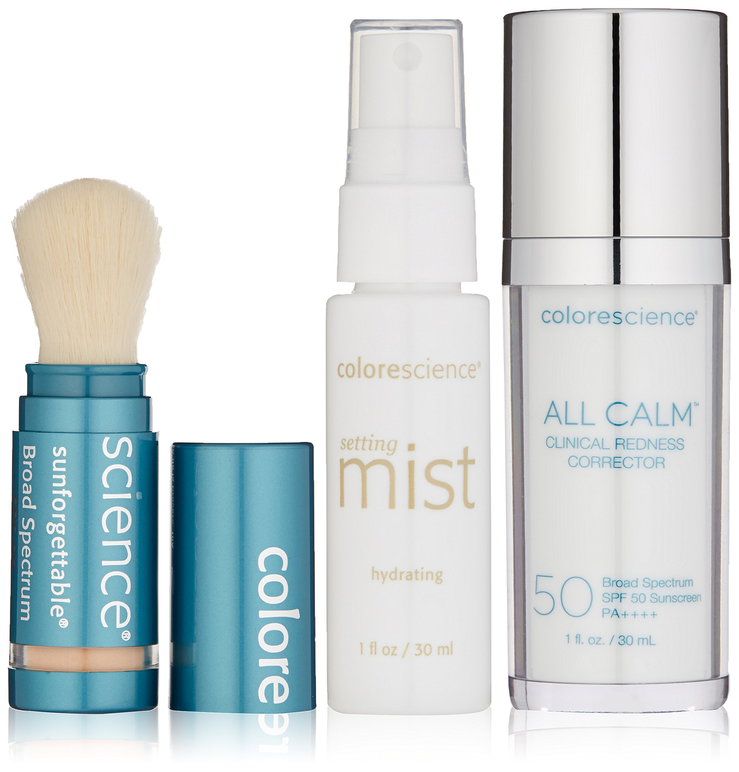 Colorescience All Calm Redness Corrective Kit - Clinical Corrector, Hydrating Setting Mist, & Mineral Sunscreen Brush
